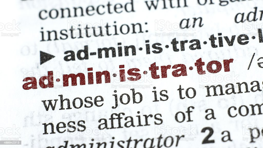 administrator-Wort aus dem Wörterbuch/vocabulary Lizenzfreies stock-foto