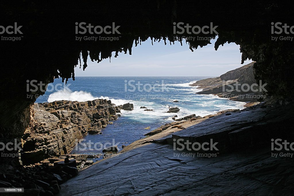 Admirals Arch and fur seals stock photo