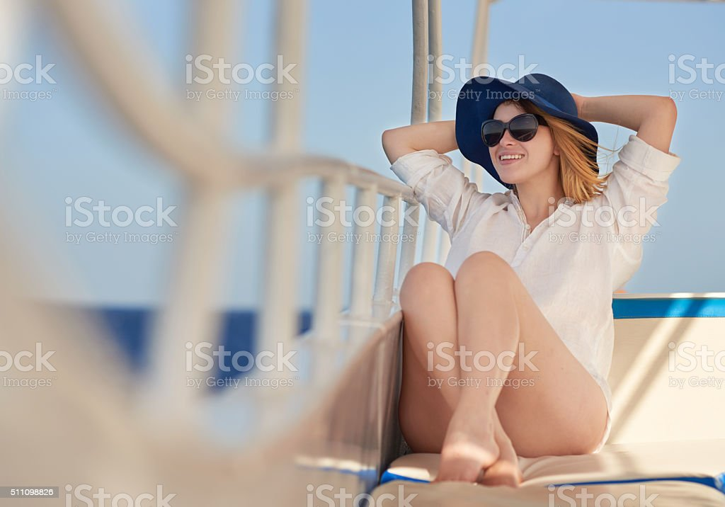 admiring beautiful summer view stock photo