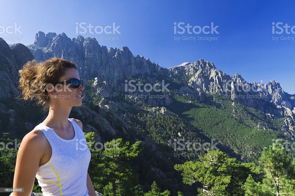 admiring mountain panorama stock photo