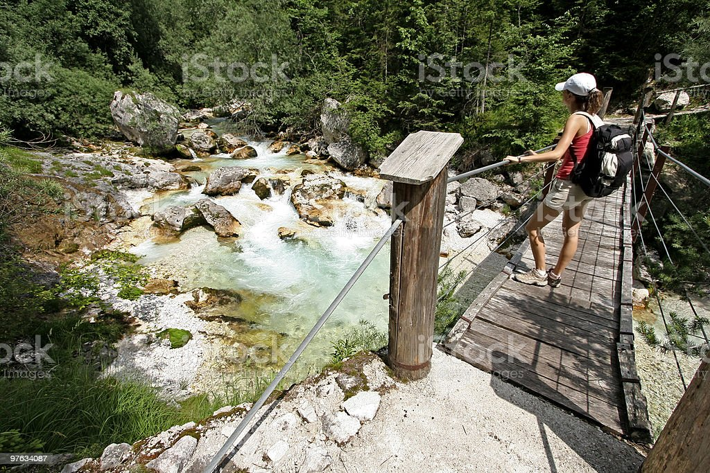 admiring the beauties of soca river stock photo