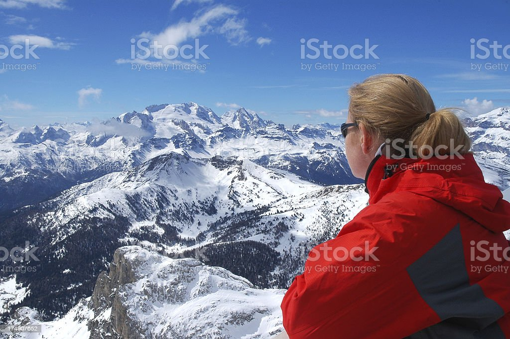 Admiring the dolomites royalty-free stock photo