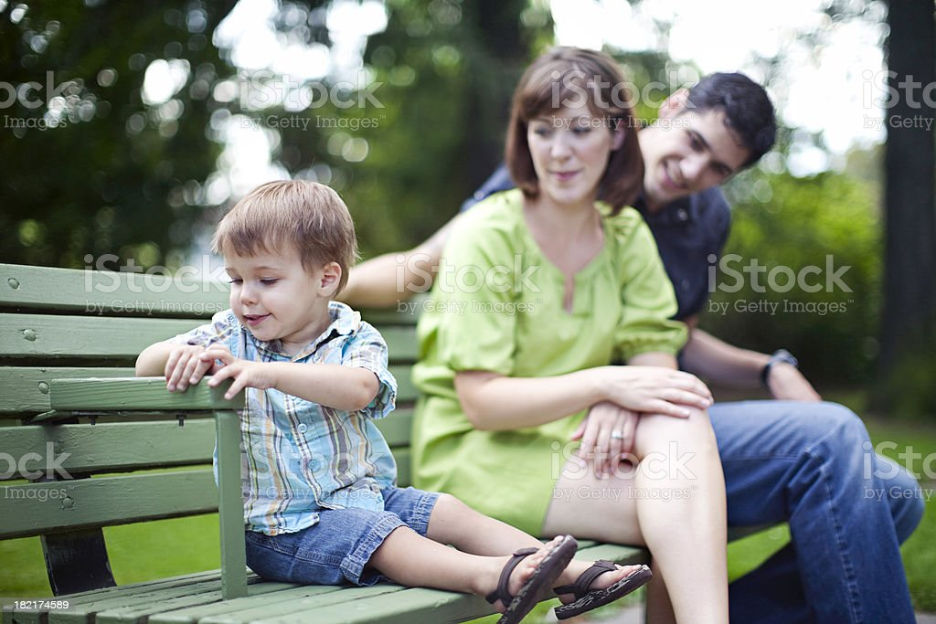 Admiring Young Family Watching Son royalty-free stock photo