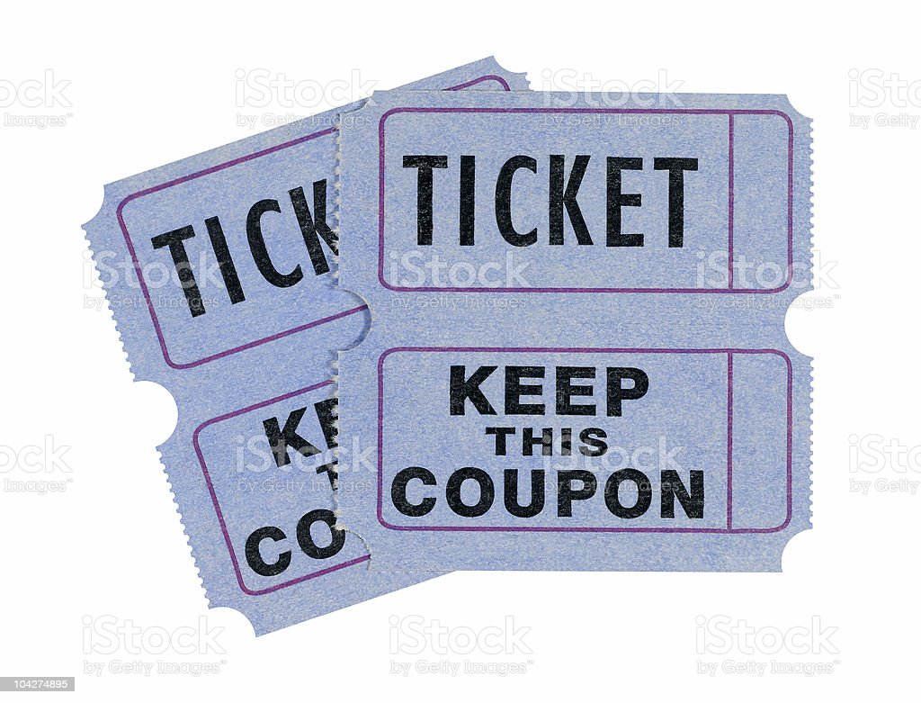 Admission or raffle tickets stock photo