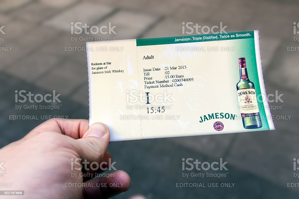 Admission ticket for Jameson distillery in Dublin, Ireland, 2015 stock photo