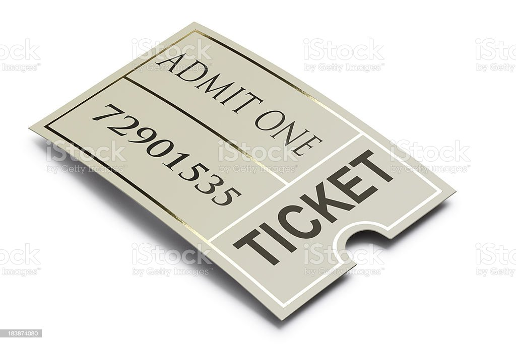 Admission ticket on a white background royalty-free stock photo