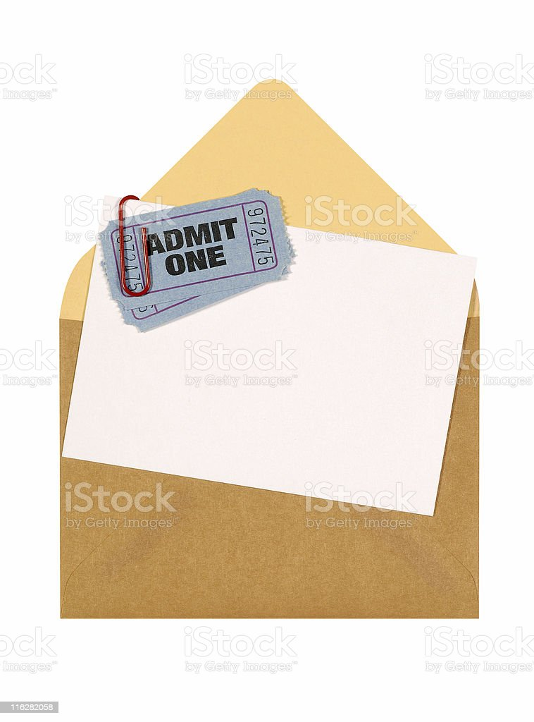 Admission tickets with brown envelope royalty-free stock photo