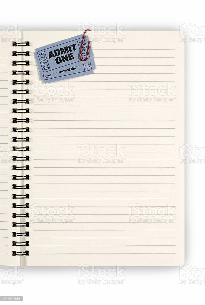 Admission tickets with notebook royalty-free stock photo