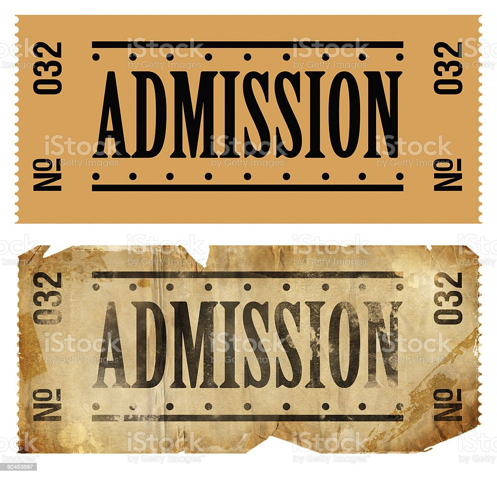 Admissions Ticket stock photo