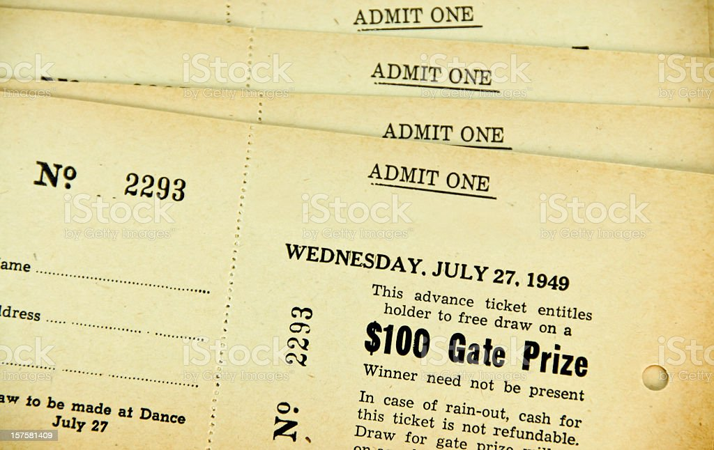 Admit One 1949 Tickets with Copy Space royalty-free stock photo