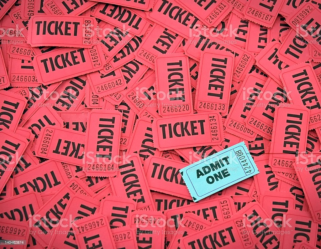 Admit One Amongst Red Tickets stock photo