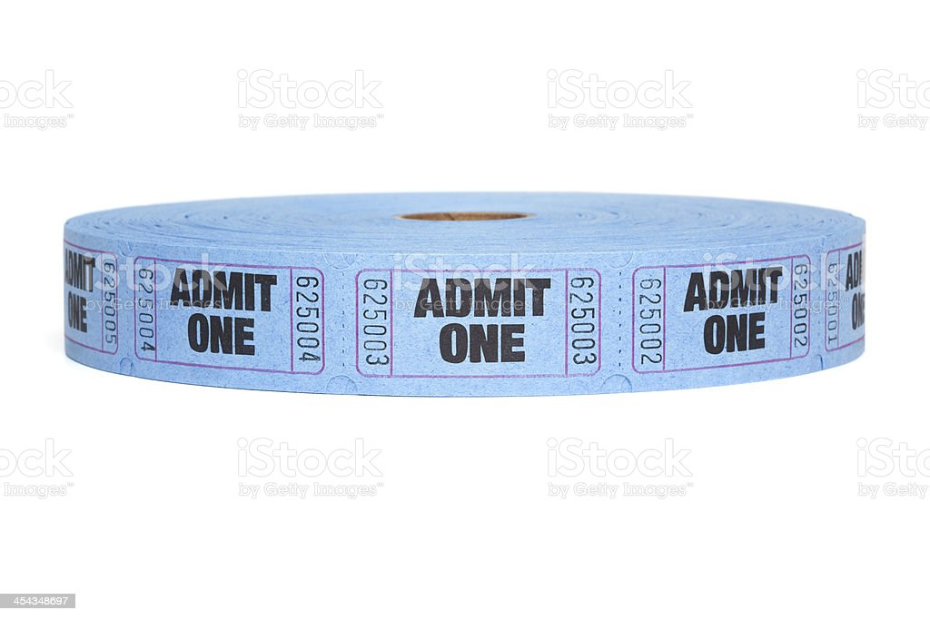 Admit One, Roll of Entry Tickets, Isolated on White royalty-free stock photo