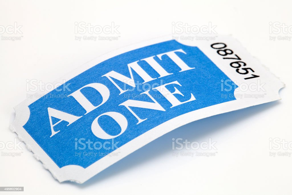 Admit One Ticket on White Background stock photo
