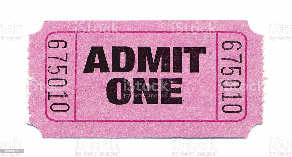 Admit One Ticket (Pink) royalty-free stock photo