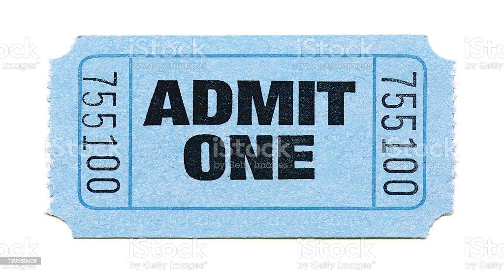 Admit One Ticket (Light Blue) stock photo