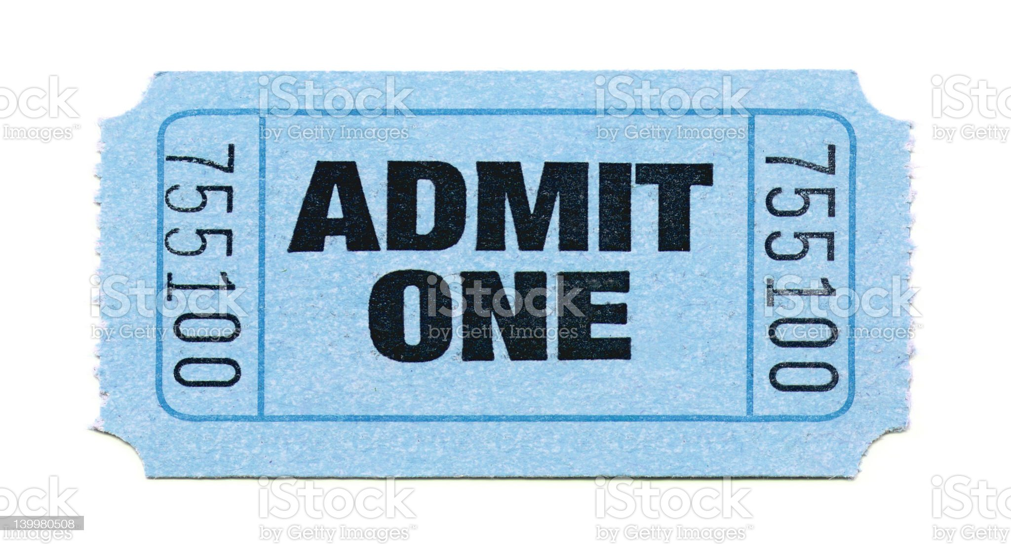 Admit One Ticket (Light Blue) royalty-free stock photo