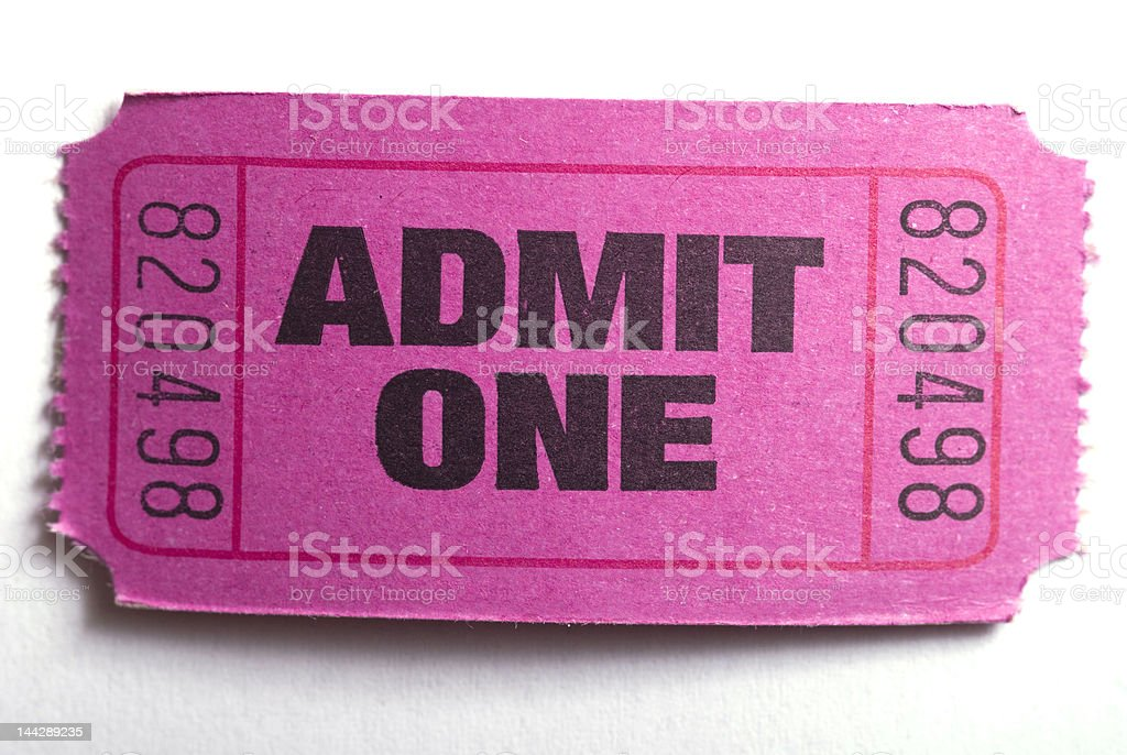 admit one ticket stock photo