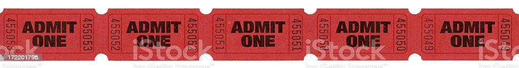 Admit one tickets (clipping path) stock photo