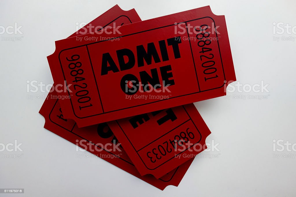 Admit One Tickets stock photo