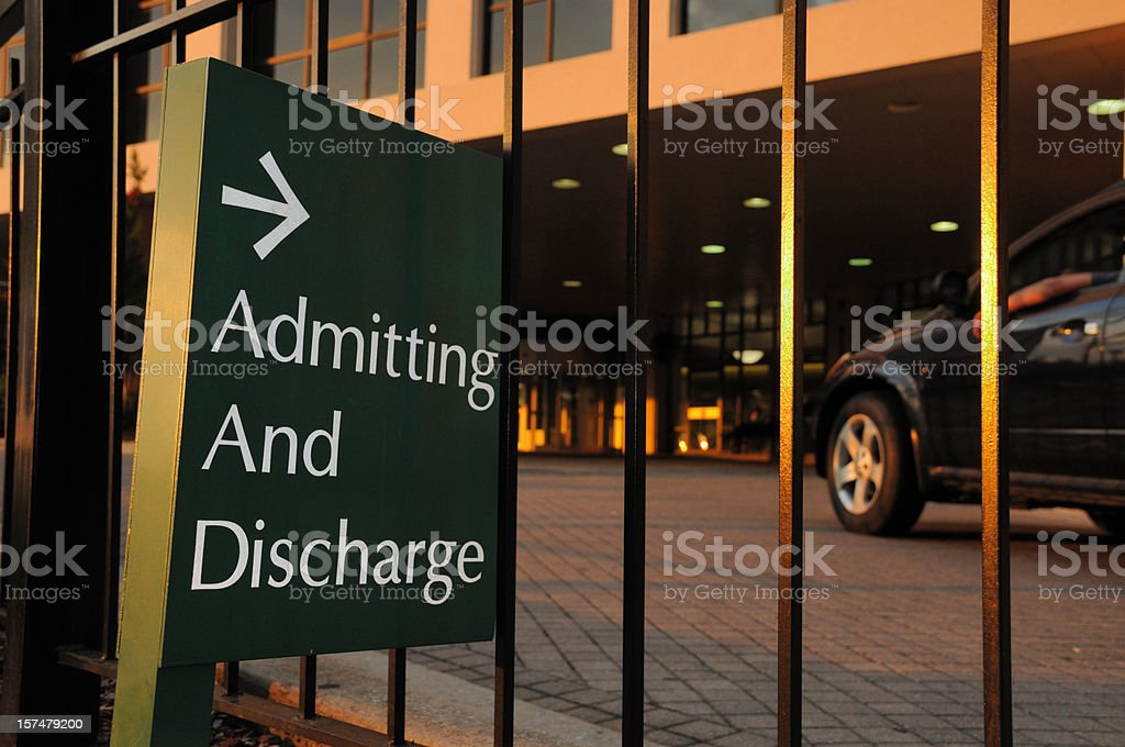 Admitting and Discharge Sign at Hospital royalty-free stock photo