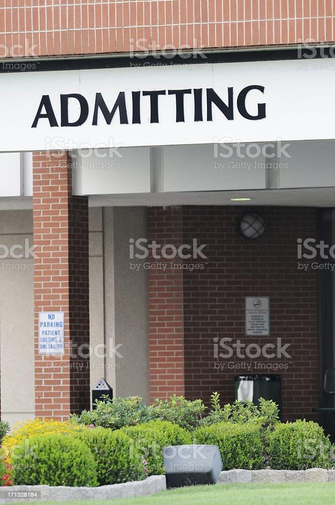 Admitting entrance at hospital stock photo