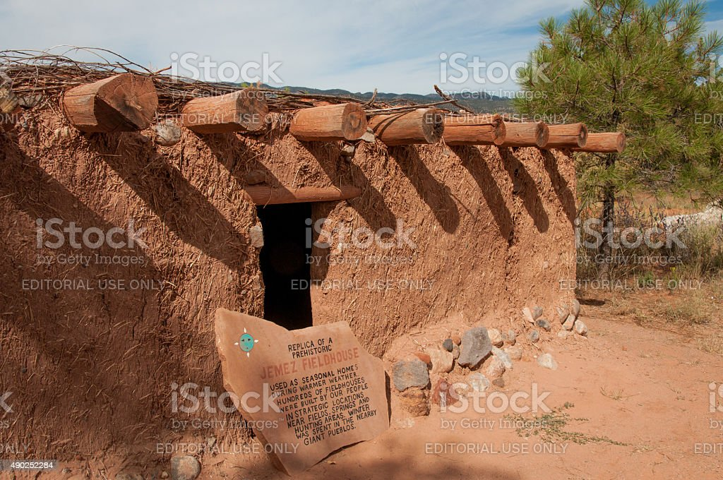 Adobe Fieldhouse Used by Native Americans in New Mexico stock photo