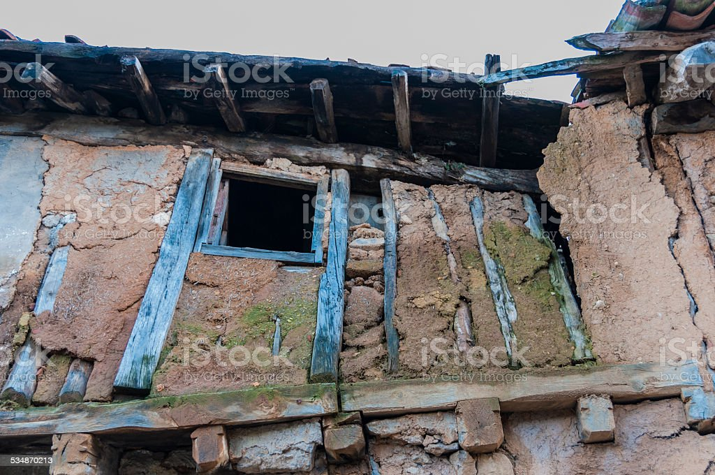 Adobe house in ruins stock photo