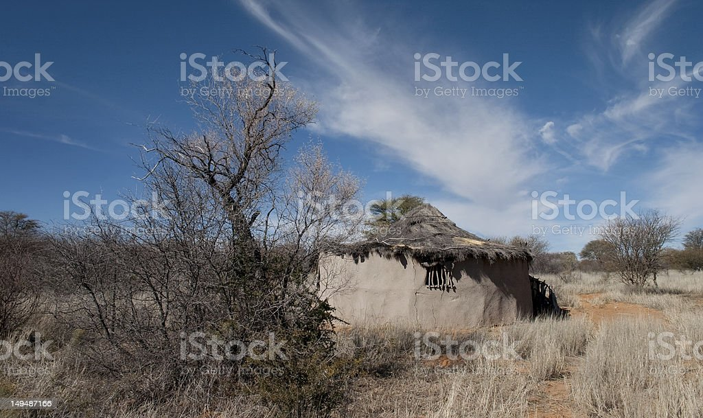 Adobe hut at camp site in Kalahari desert South Africa stock photo