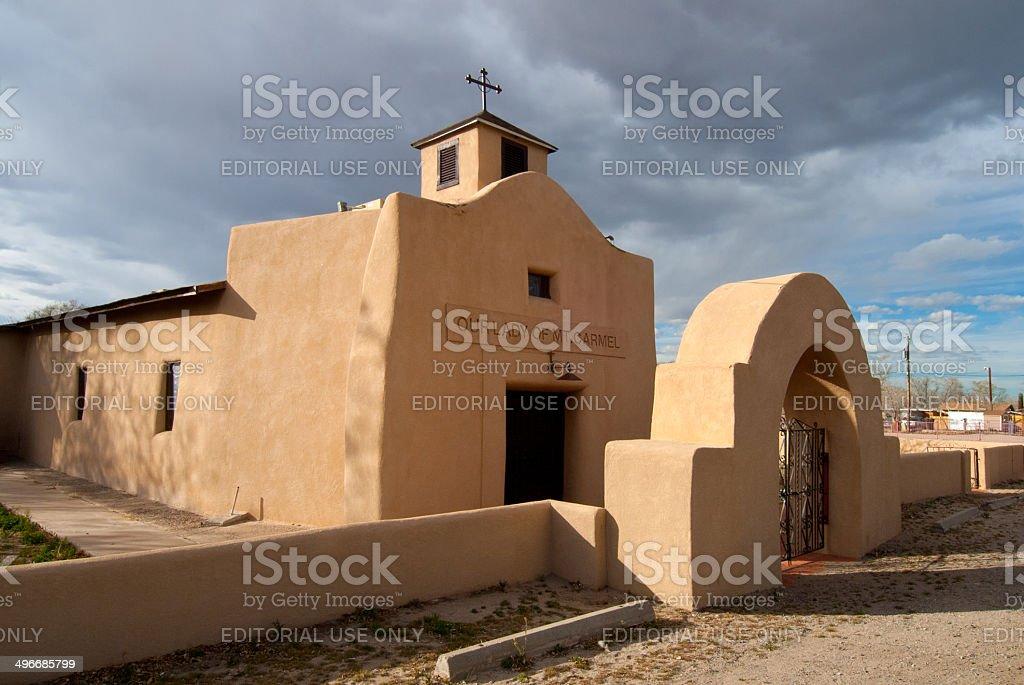 Adobe Our Lady of Mt. Carmel Church stock photo