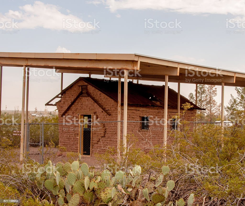 Adobe Structure at Pancho Villa State Park in New Mexico stock photo