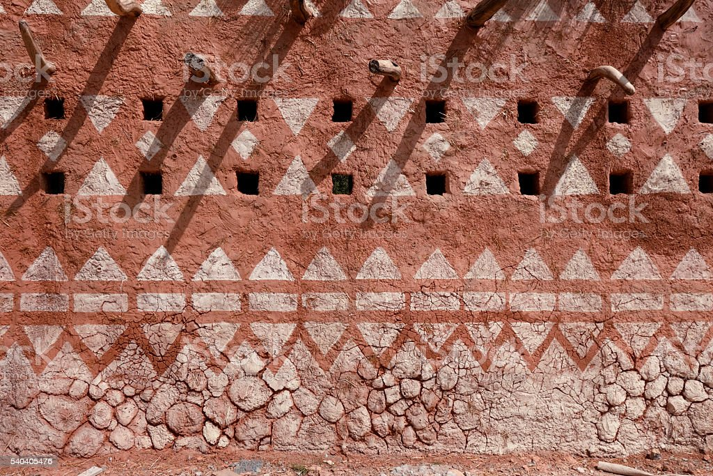Adobe wall in Africa stock photo