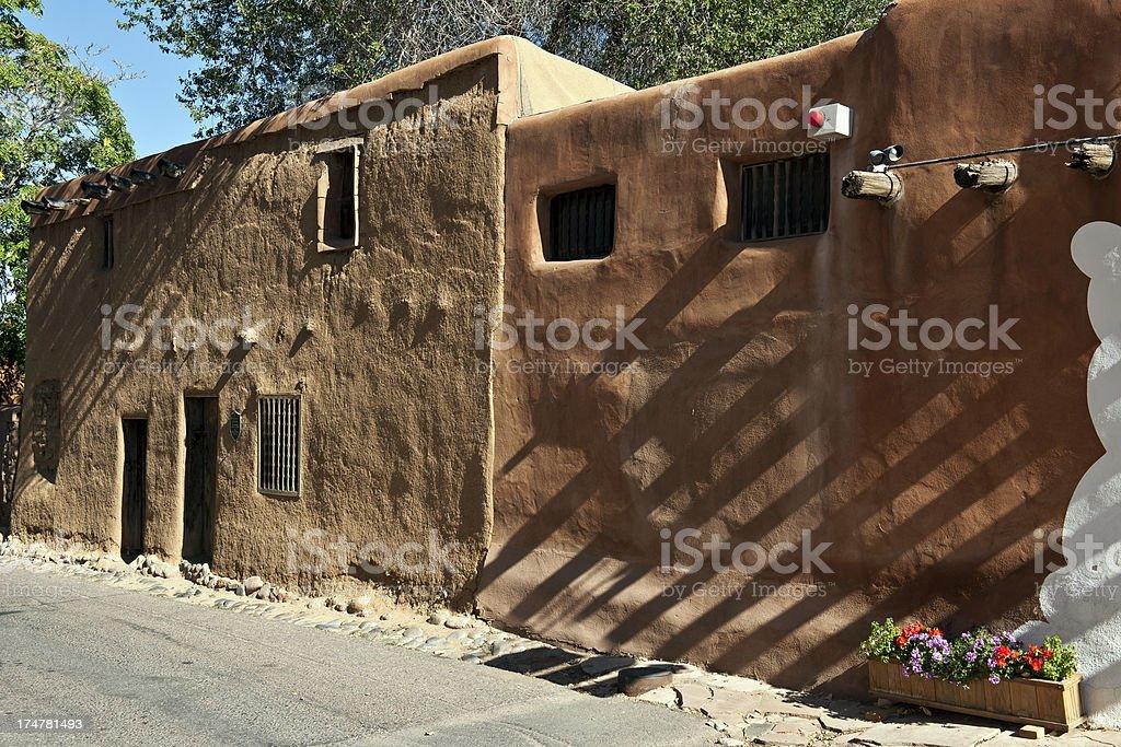 Adobe Walls of Pueblo in Santa Fe New Mexico USA stock photo