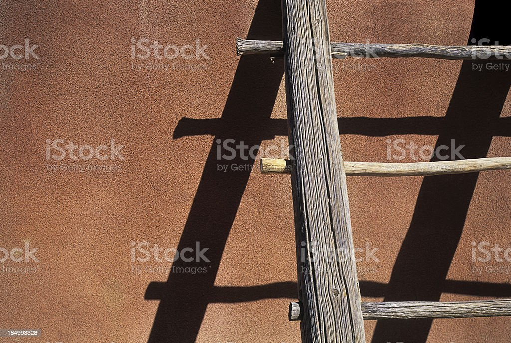 Adobe Wooden Ladder royalty-free stock photo