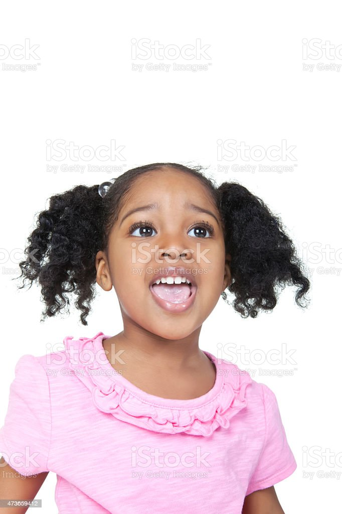 Adorable African American four year old girl with pigtails  rm stock photo