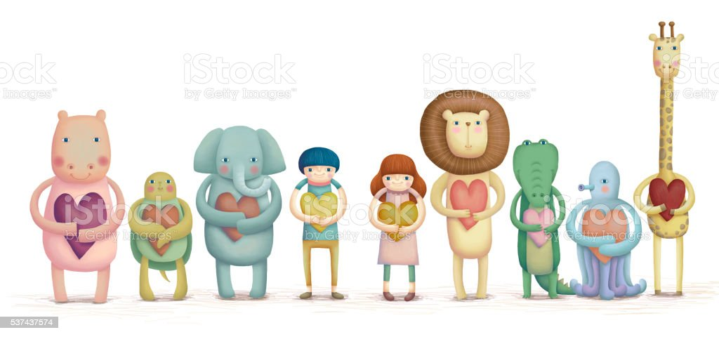 Adorable animals and kids stock photo