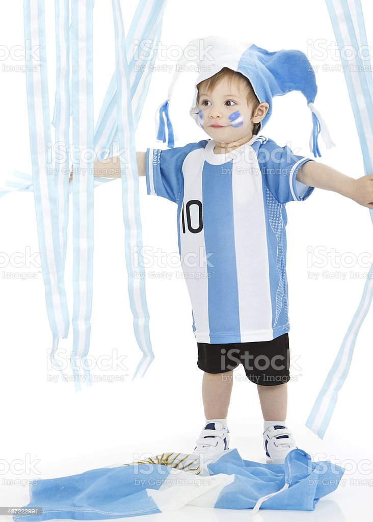 Adorable argentinean soccer fun royalty-free stock photo