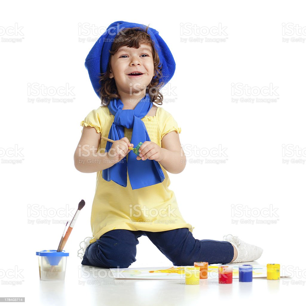 adorable artist kid drawing and painting royalty-free stock photo