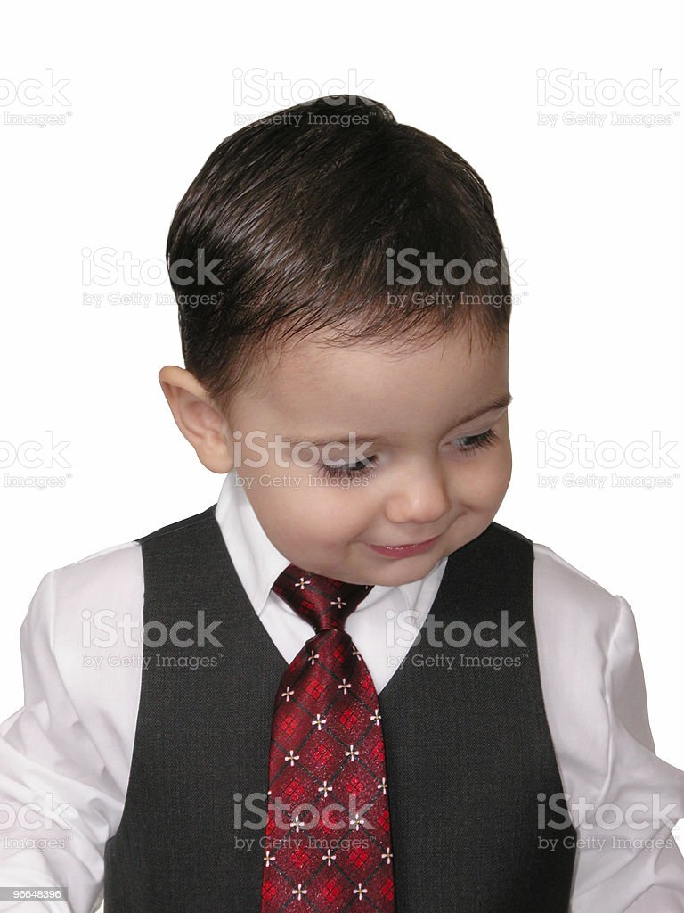 Adorable Baby Boy in Suit Looking Down royalty-free stock photo