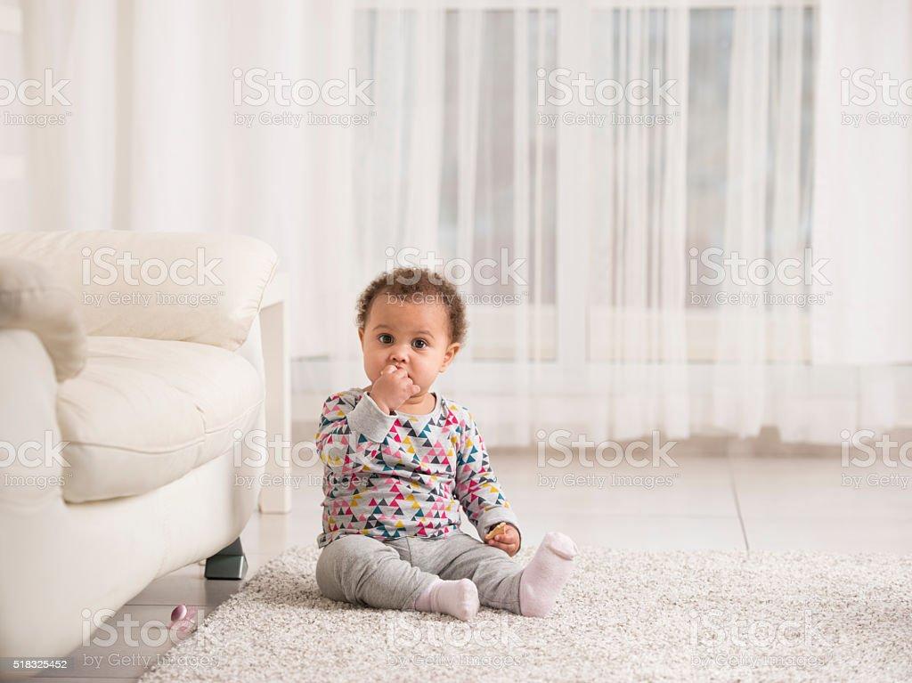 Adorable baby girl. stock photo