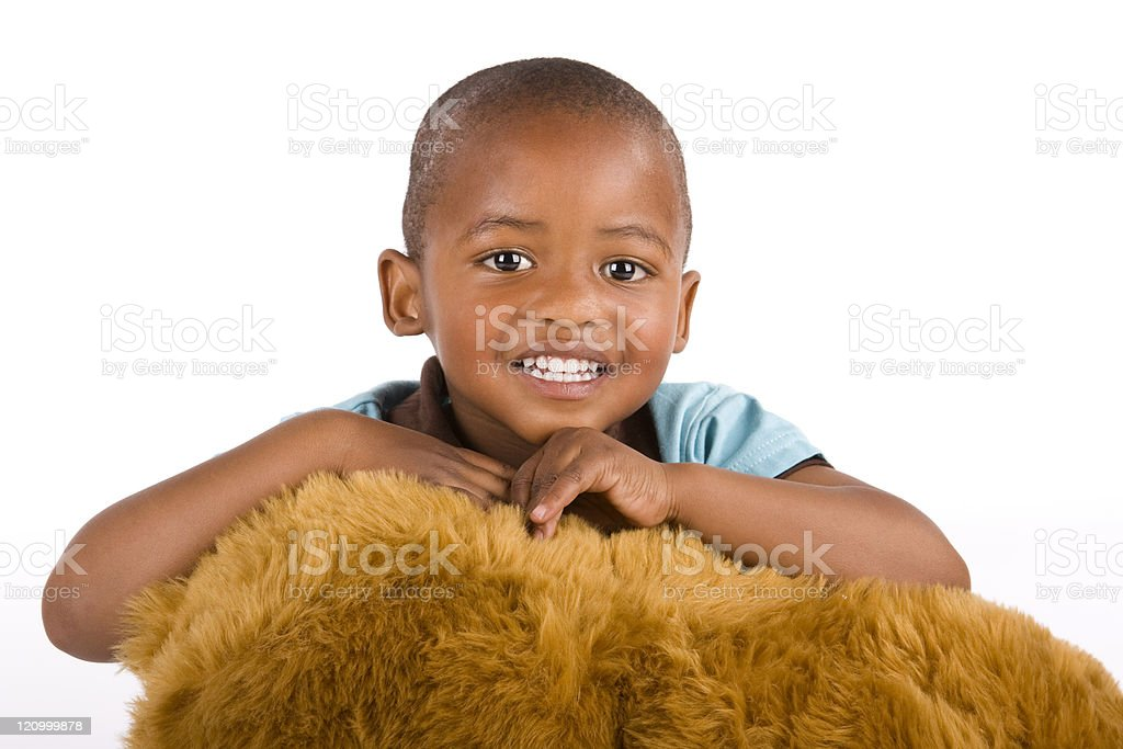 Adorable black or African American boy smiling very happily stock photo