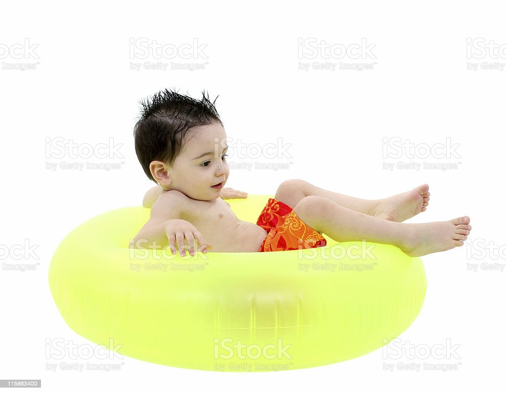 Adorable Boy In Swimsuit royalty-free stock photo