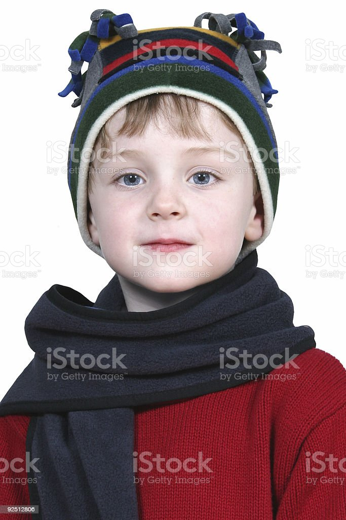 Adorable Boy in Winter Hat and Red Sweater royalty-free stock photo