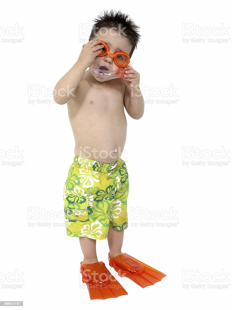 Adorable Boy Ready To Snorkel Over White stock photo