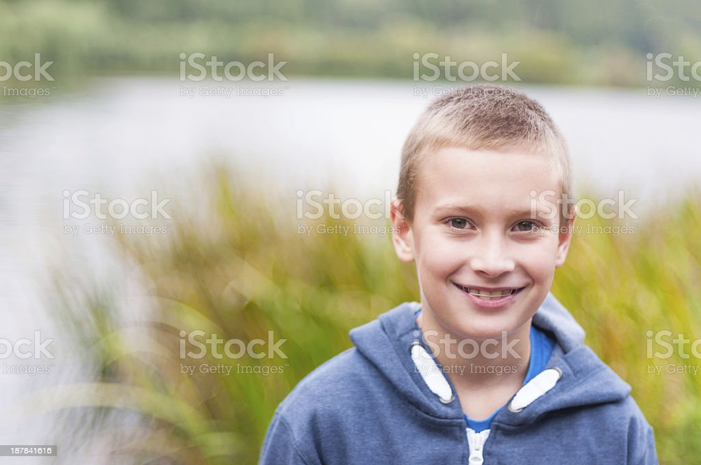 Adorable boy smiling stock photo