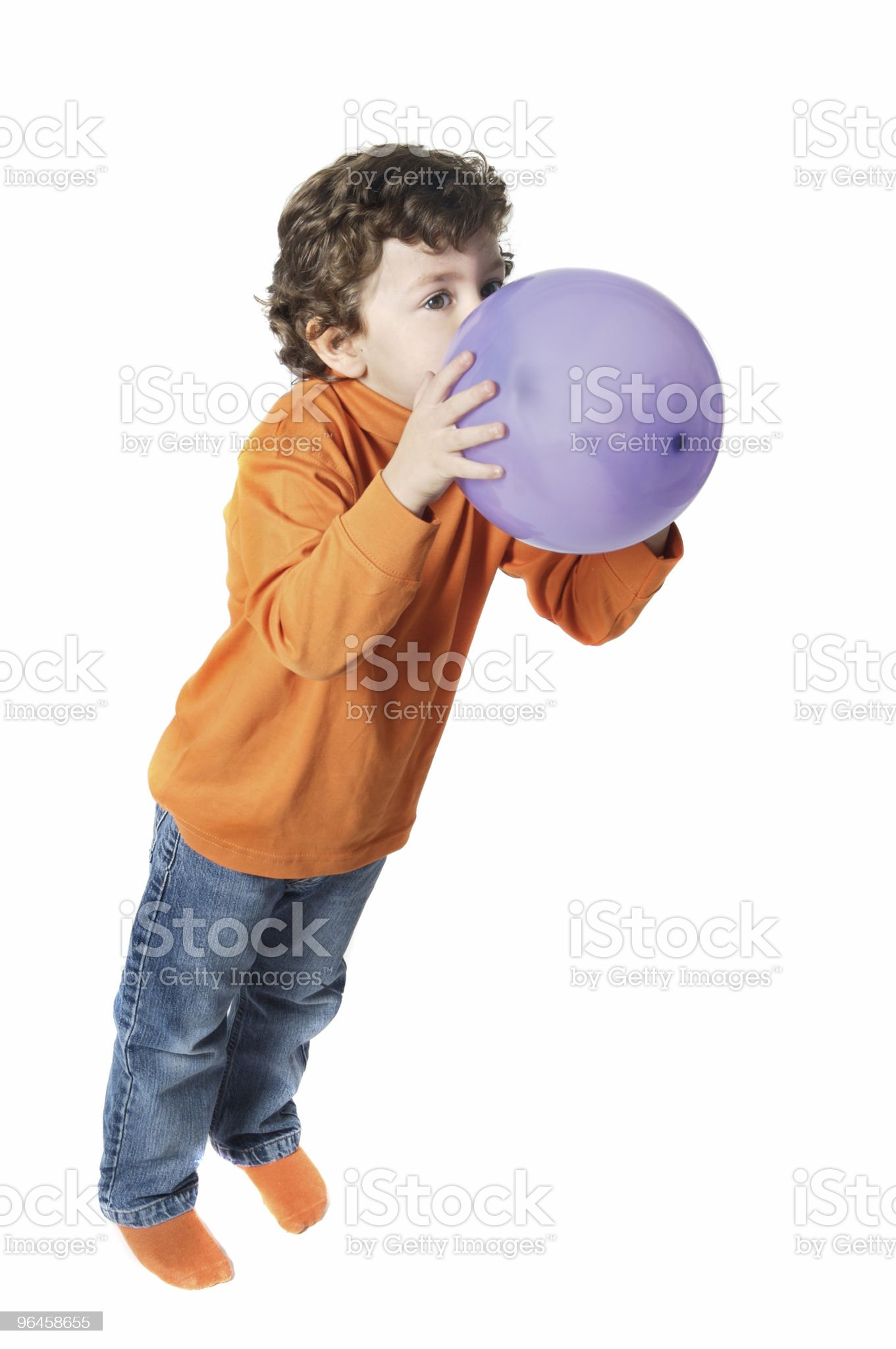 adorable boy with balloons royalty-free stock photo