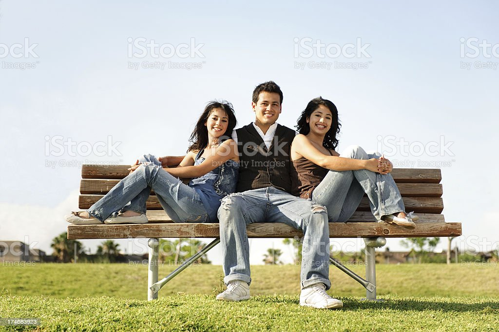 Adorable brother and sisters royalty-free stock photo