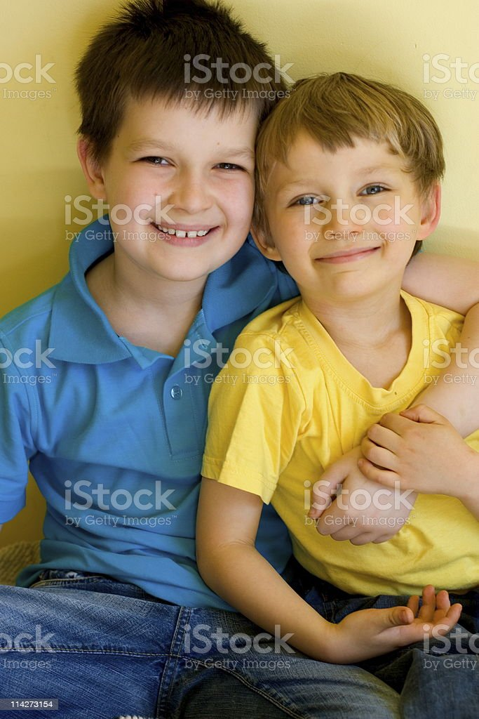 Adorable brothers hugging royalty-free stock photo
