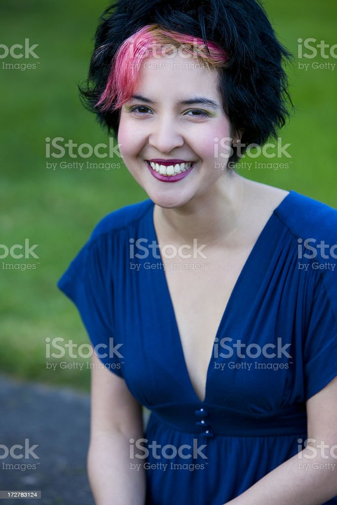 'Adorable, Cheerful Young Woman with Pink Hair Dye, Outdoor Portr' stock photo