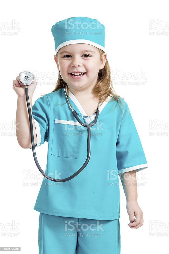 Adorable child girl uniformed as doctor isolated on white backgr stock photo