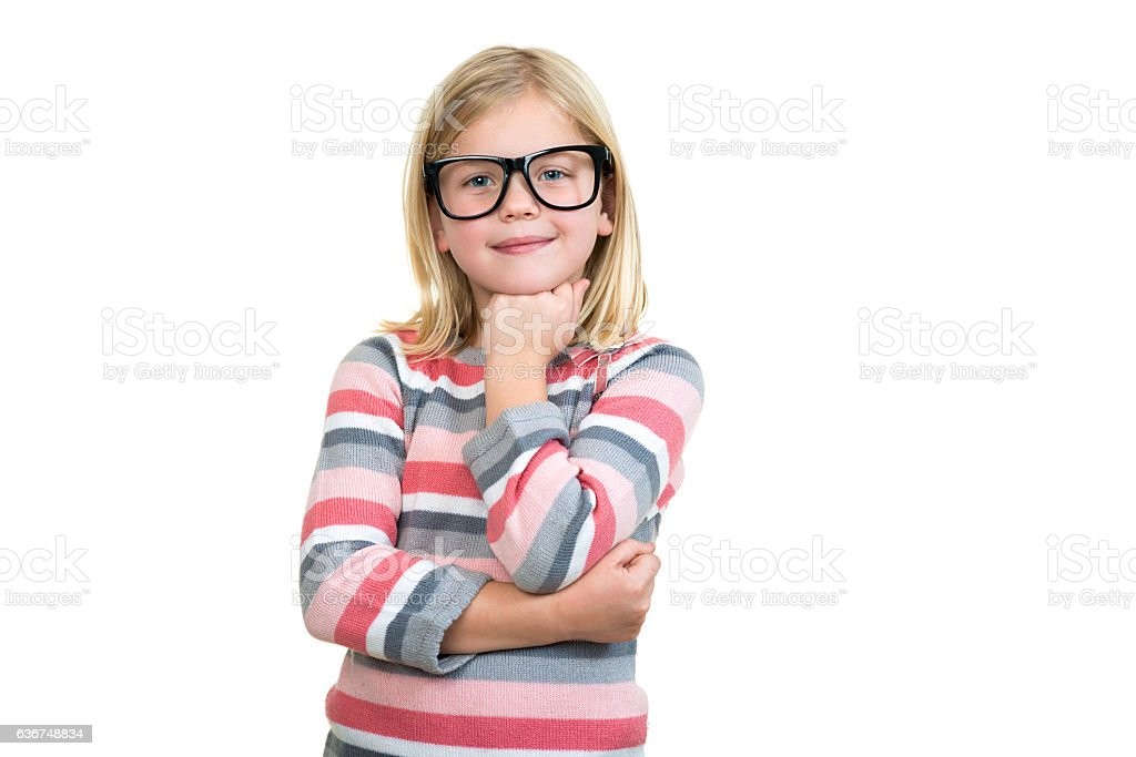 Adorable child in glasses thinking isolated on white stock photo